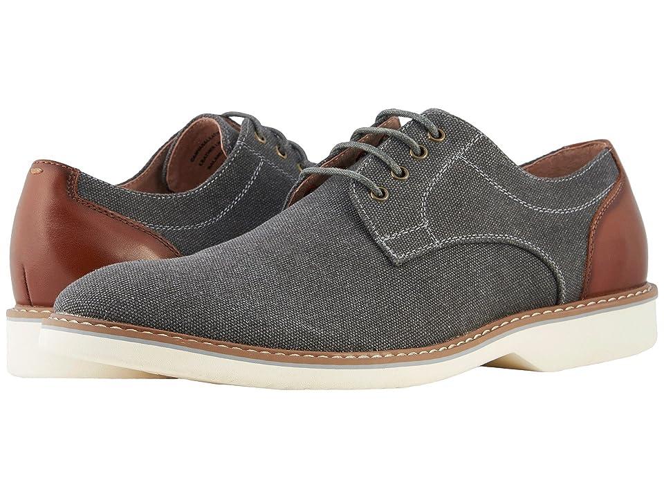 Florsheim Union Plain Toe Oxford (Charcoal Canvas/Cognac Smooth) Men
