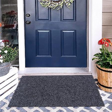 """ROSMARUS Front Door Mat Outdoor Indoor Doormat Welcome Mats Outside Entrance Shoe Boot Matt Tray for Entryway Garage Floor Mat RV Rug Patio Carpet with TPR Rubber Backing,18""""X30"""",Grey"""