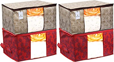 Heart Home Metallic Printed 4 Piece Non Woven Fabric Underbed Storage Bag, Cloth Organizer, Blanket Cover with Transparent Window, Golden Brown & Red - HEART5602