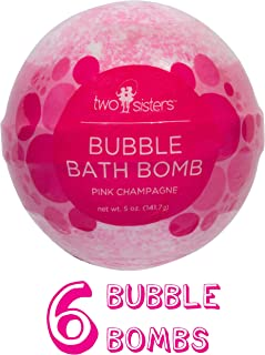 6 Pink Champagne Bubble Bath Bombs by Two Sisters Spa. 6-5oz Large 99% Natural Fizzies For Women, Teens and Kids. Moisturizes Dry Sensitive Skin. Releases Lush Color, Scent, and Bubbles.