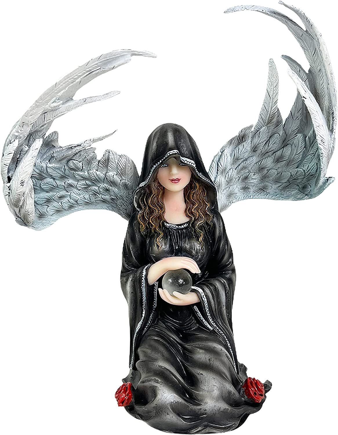 Urbalabs Gothic Angel with Crystal Ball Statue 8