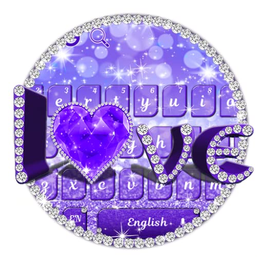 Purple Glitter Love Keyboard Theme