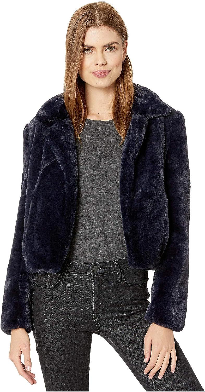 Blank NYC Faux Fur Cropped Jacket in Open Seas