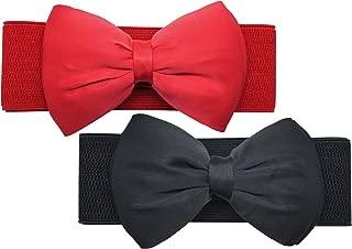 Women Cute Bow/Flower Wide Elastic Waist Belt - Adorable Dress Accessory