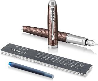 PARKER IM Fountain Pen, Premium Brown, Medium Nib with Blue Ink Refill (1931677)