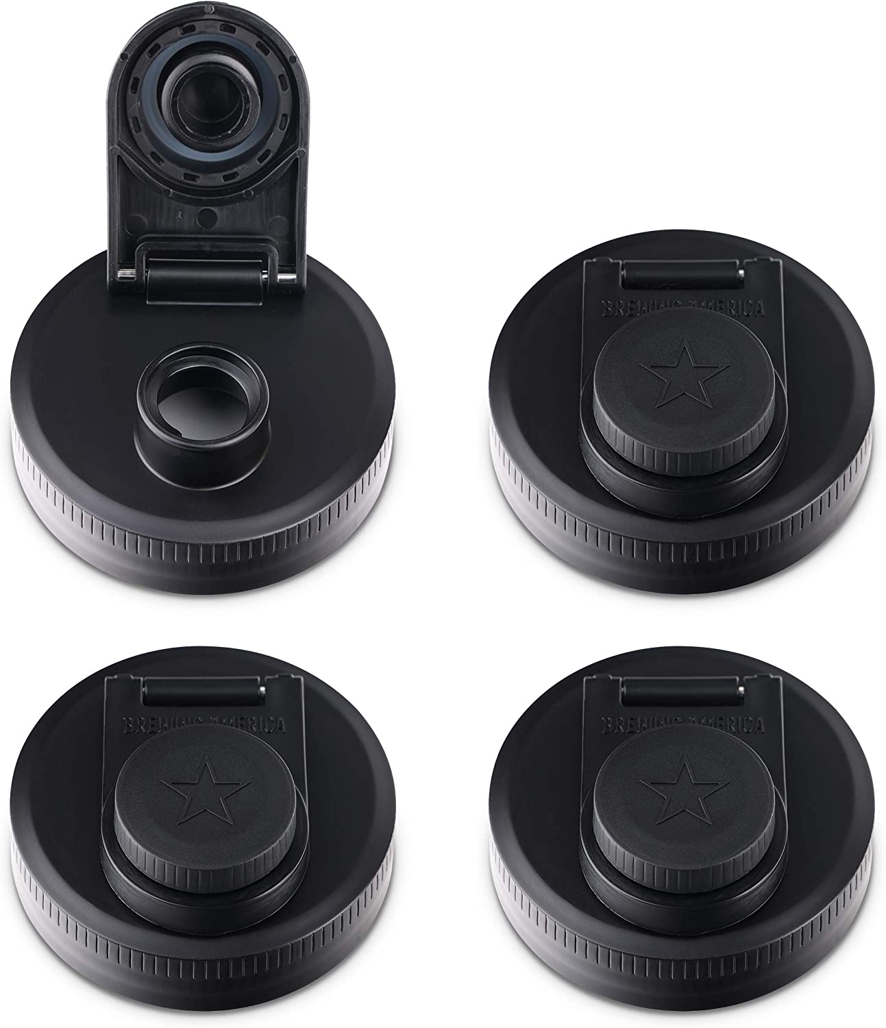 Mason Jar Lids Wide Mouth Plastic Cap 4 All stores are sold Screw Made-Flip discount pack-USA