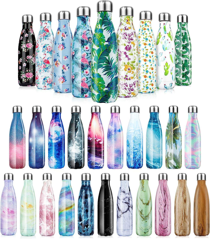 Botella de Agua de acero inoxidable sin BPA-350/500/750/1000 ml Botella Termica aisladas al vacío Botellas de doble pared reutilizable Mantiene bebidas 24h frías y 12h Calientes para Viaje, Deporte