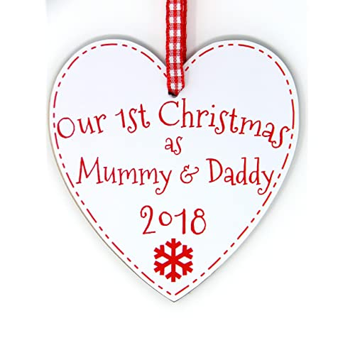 058a311b6f6 Our First Christmas As Mummy   Daddy Heart Plaque - 1st Xmas Tree  Decoration Handmade in