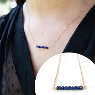 Handmade Blue Lapis Lazuli Beaded Bar Necklace, 14k Gold Filled Adjustable 16 inch to 18 inch Chain, Everyday Jewelry Gift Idea for Women, September Birthstone, Real Semi-Precious Natural Gemstone