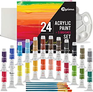 Mytisma Acrylic Paint Set of 24 (12ml) Highly Pigmented and Vibrant Colours with 5 Brushes, 1 Canvas, 1 Palette for Paper, Wood, Ceramic and Glass- for Kids and Adults