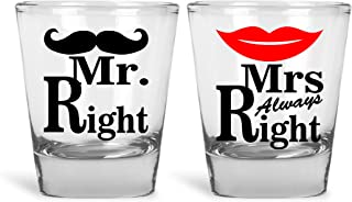 Mr. Right & Mrs. Always Right Funny Novelty Couples Shot Glasses   Great for Bride, Groom, Bachelor and Bachelorette Party by Mad Ink Fashions