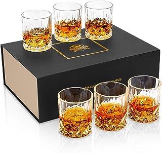 KANARS Whisky Gläser, Bleifrei Kristallgläser, 6-teiliges Whiskey Glas, Luxuriös Geschenk, 300ml