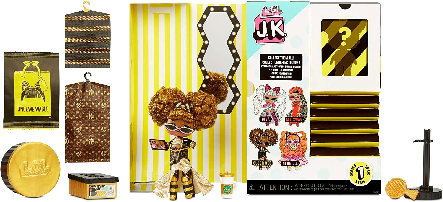 LOL Surprise JK QUEEN BEE Mini Fashion Doll 15 Surprises Series 1 Real Hair New