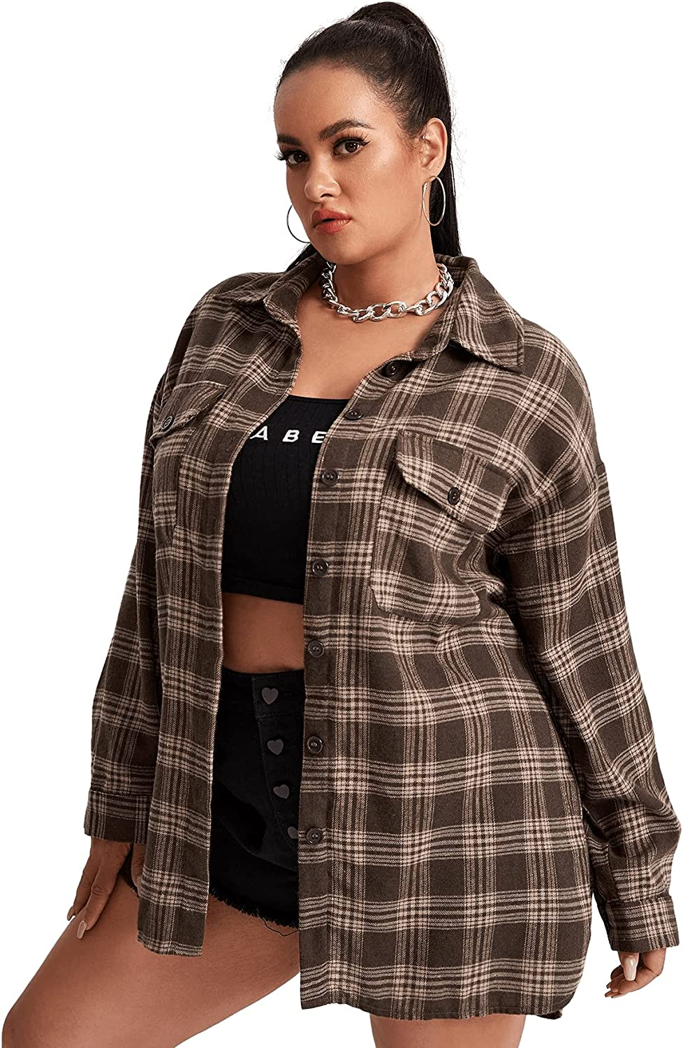 Romwe Women's Plus Size Plaid Long Sleeve Button Up Shirts Collar Blouses Tops