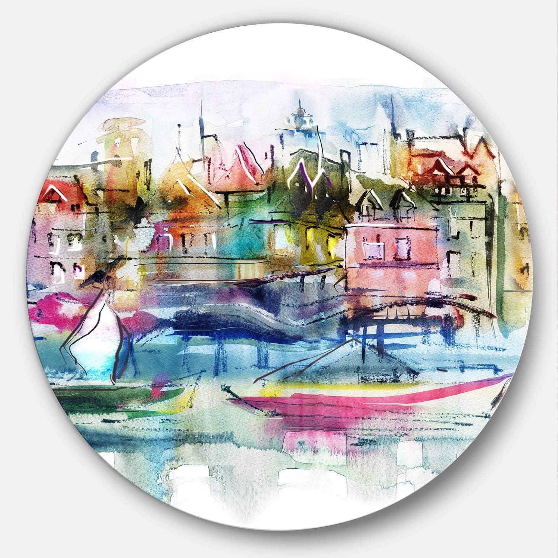 Designart MT6651-C38 Metal Wall Art - Disc of 38 inch 38x38-Disc, Pink Yellow bluee