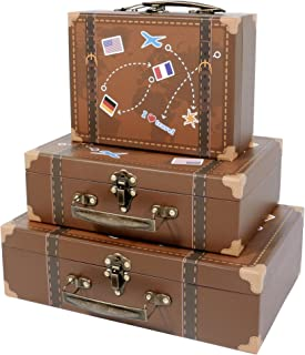 SLPR Paperboard Suitcases (Set of 3, Travel) | Decorative Boxes for Birthday Parties Wedding Decoration Displays Crafts Photo Shoots