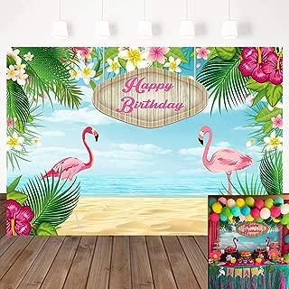 Mehofoto 7x5ft Happy Birthday Backdrops Flamingle Flamingo Hawaiian Birthday Party Vinyl Banner Backdrop Tropical Beach or Aloha Party Dessert Table Children Customized Photo Booth Background