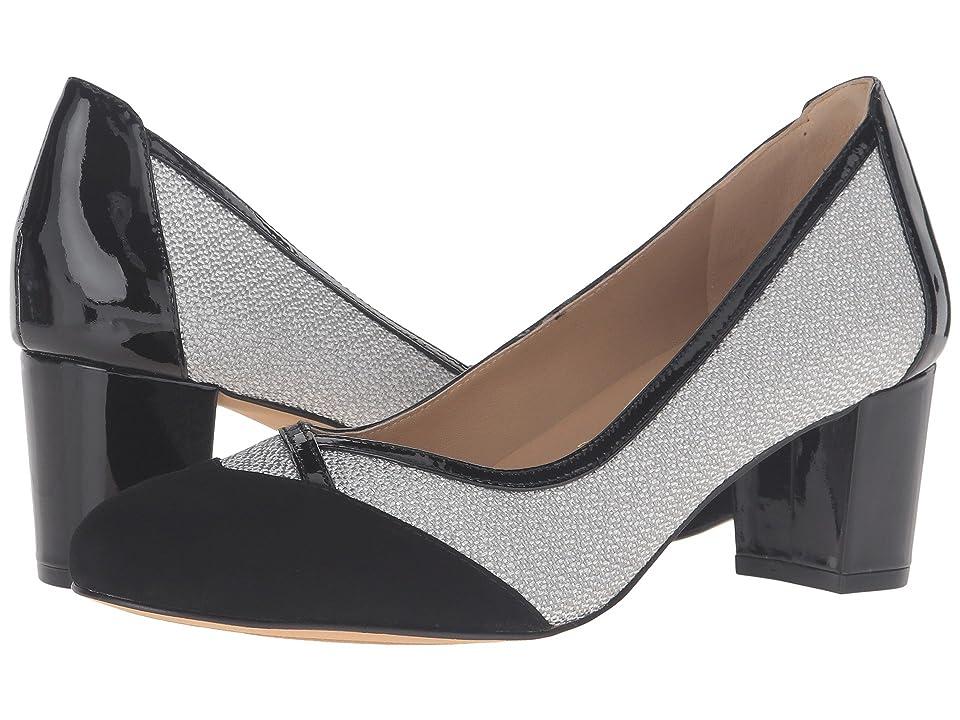 Trotters Phoebe (Black Kid Suede/Metallic/Patent Leather) High Heels