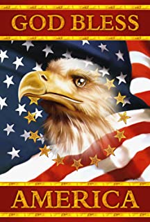 Toland Home Garden God Bless America 28 x 40 Inch Decorative Patriotic Bald Eagle July 4 Stars Stripes USA House Flag
