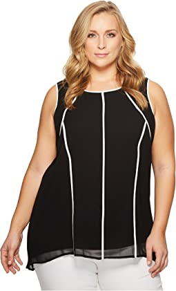 Calvin Klein Plus - Plus Size Short Sleeve Chiffon Tunic with Piping
