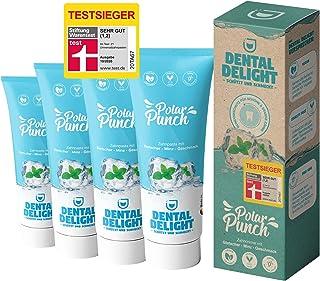 TESTSIEGER bei Stiftung Warentest (Note 1,2 SEHR GUT): DENTAL DELIGHT Polar Punch 4er-Pack Zahncreme Gletscher-Minze Vegan...