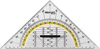 Westcott E-10134 00 geodriehoek kunststof met afneembare handgreep, 22 cm, transparant