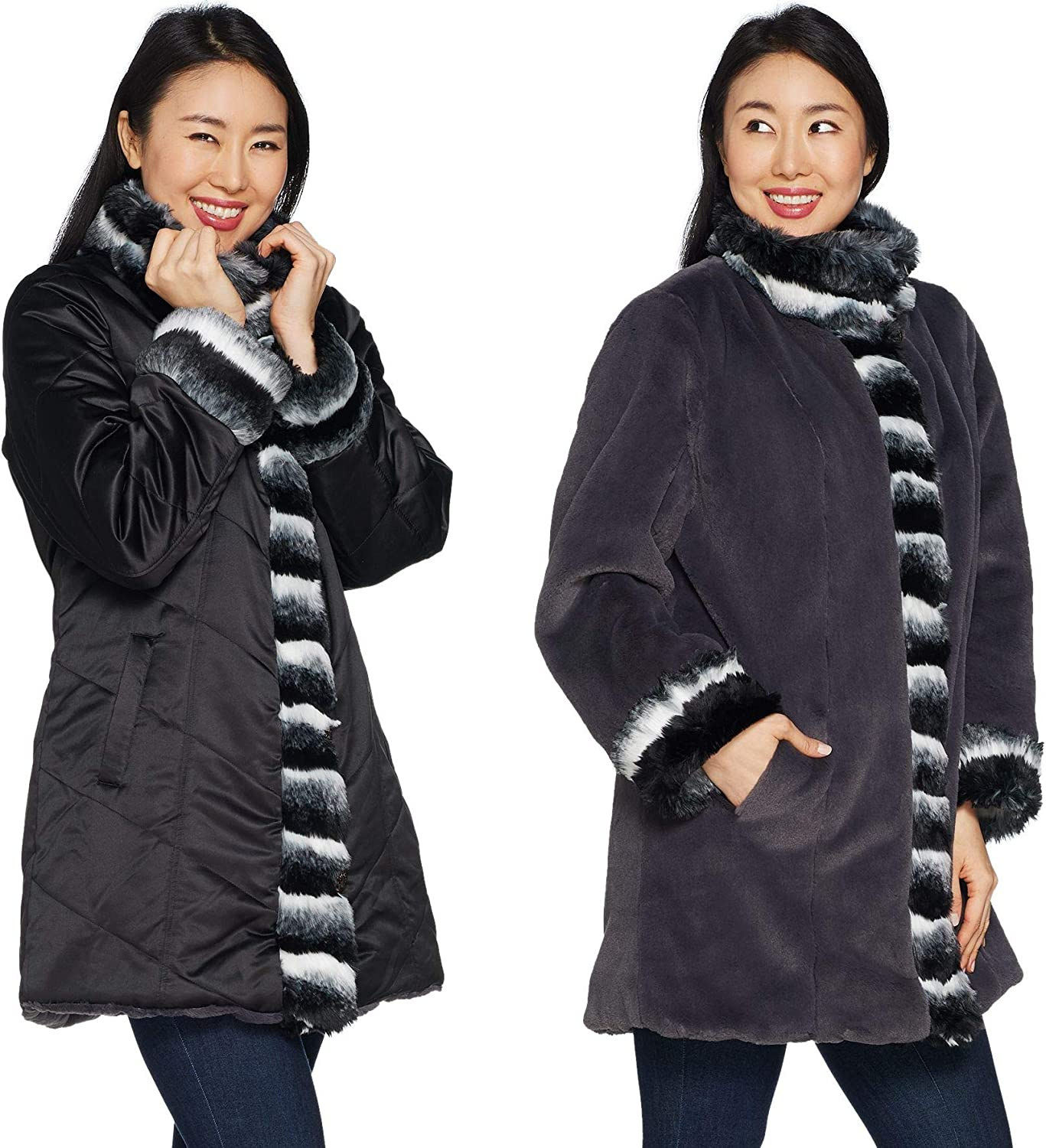 Dennis Basso Reversible Stand Collar Coat w/ Faux Fur Trim in Black/Charcoal Small R1