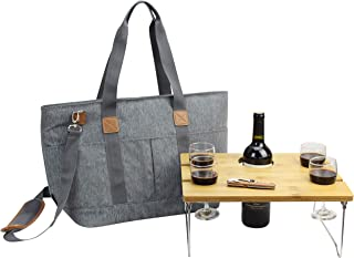 Picnic Basket Tote Set with Table   Picnic Shoulder Bag Set   Stylish All-in-One Portable Set   4 Person Table Service   Cooler Bag for Camping   Insulated Tote Bag   Cooler Bag Business Gift [Grey]