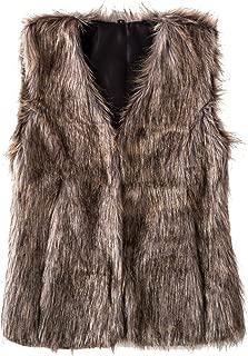 Women's Faux Fur Vest Warm Sleeveless Jacket Gilet with Pockets