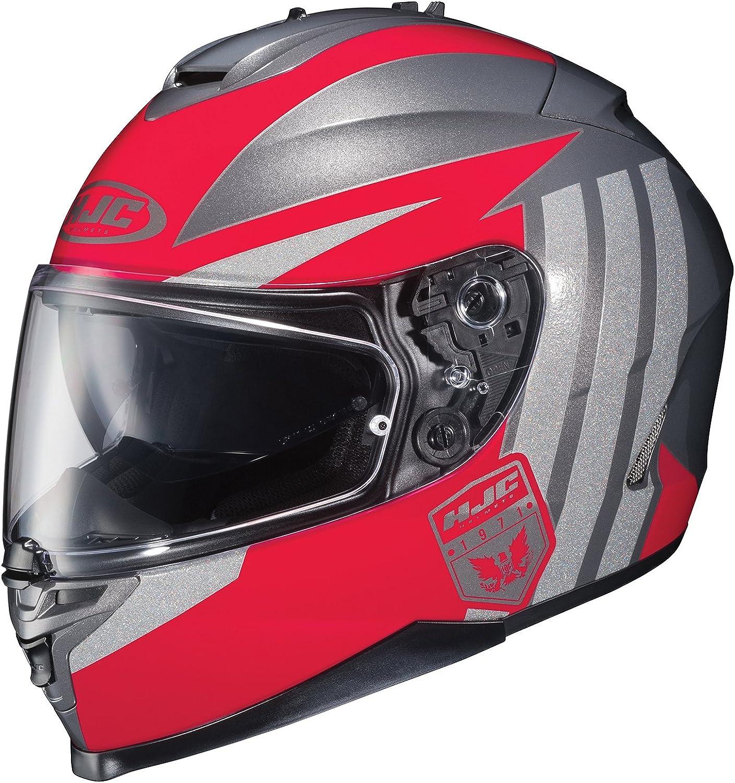 HJC IS17 Grapple FullFace Motorcycle Helmet (Red Silver, XLarge)