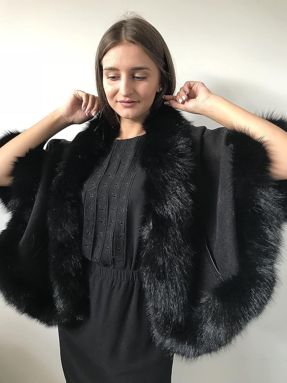Poncho Cape Coat cashmere fur free shipping Superlatite fox trim