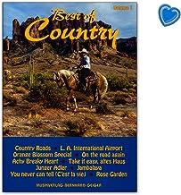 Best of Country Band 1 - Libro de canciones para cantar, piano, teclado, acordeón o guitarra con pinza en forma de corazón multicolor - SB25 4260307720254