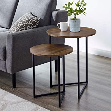 Walker Edison Furniture Company Modern Round Metal Base Nesting Set Side Accent Living Room Storage Small End Table, Set of 2, Walnut Brown