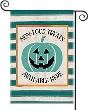 AVOIN Halloween Watercolor Stripes Teal Pumpkin Jack-O'-Lantern Garden Flag Vertical Double Sized, Non-Food Treats Availab...