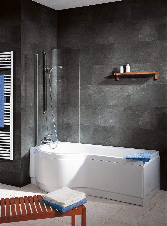 Schulte D1657-5 41 50 Duschabtrennung gebogen, 140 x 88 cm, 5 mm Sicherheitsglas Klar hell, chromoptik, Duschwand für Badewanne D5017-5