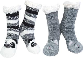 2paia Calze da Pantofole Donna Antiscivolo Termiche Calzini Donna Divertenti Fantasia Invernali Calze Modello Animale per ...
