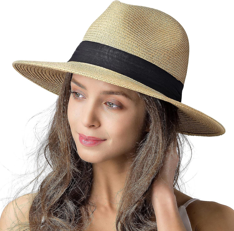 Womens Mens Wide Brim Straw Panama Hat Fedora Summer Beach Sun Hat UPF Straw Hat for Women