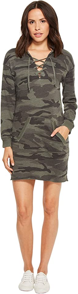 Camo Lace-Up Hoodie Dress