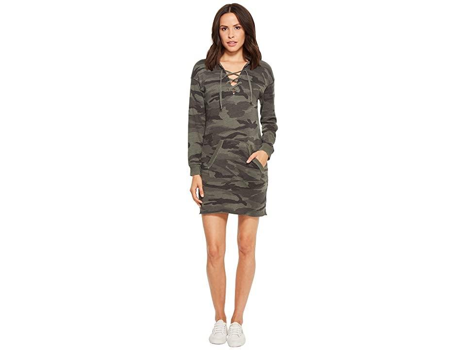 Splendid Camo Lace-Up Hoodie Dress (Vintage Olive Branch) Women