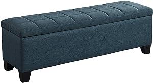 Whi Fabric Storage BENCH, GREY-BLUE