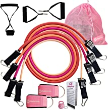 Cheeky Bands Exercise Resistance Band Set - Latex Pull Up Tubes Stackable to 100lbs with Handles, Ankle Straps, Door Attachment - Home Fitness Gym Equipment, Workout Guide, Carry Bag and Bonus Gift
