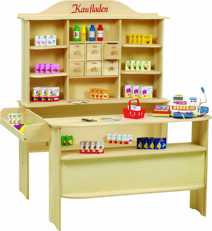 Roba Kaufladen, groer Kinder Kaufmannsladen, inkl. Kaufladenzubehr, Holz natur, Verkaufsstand 6 Schubladen, Theke & Seitentheke