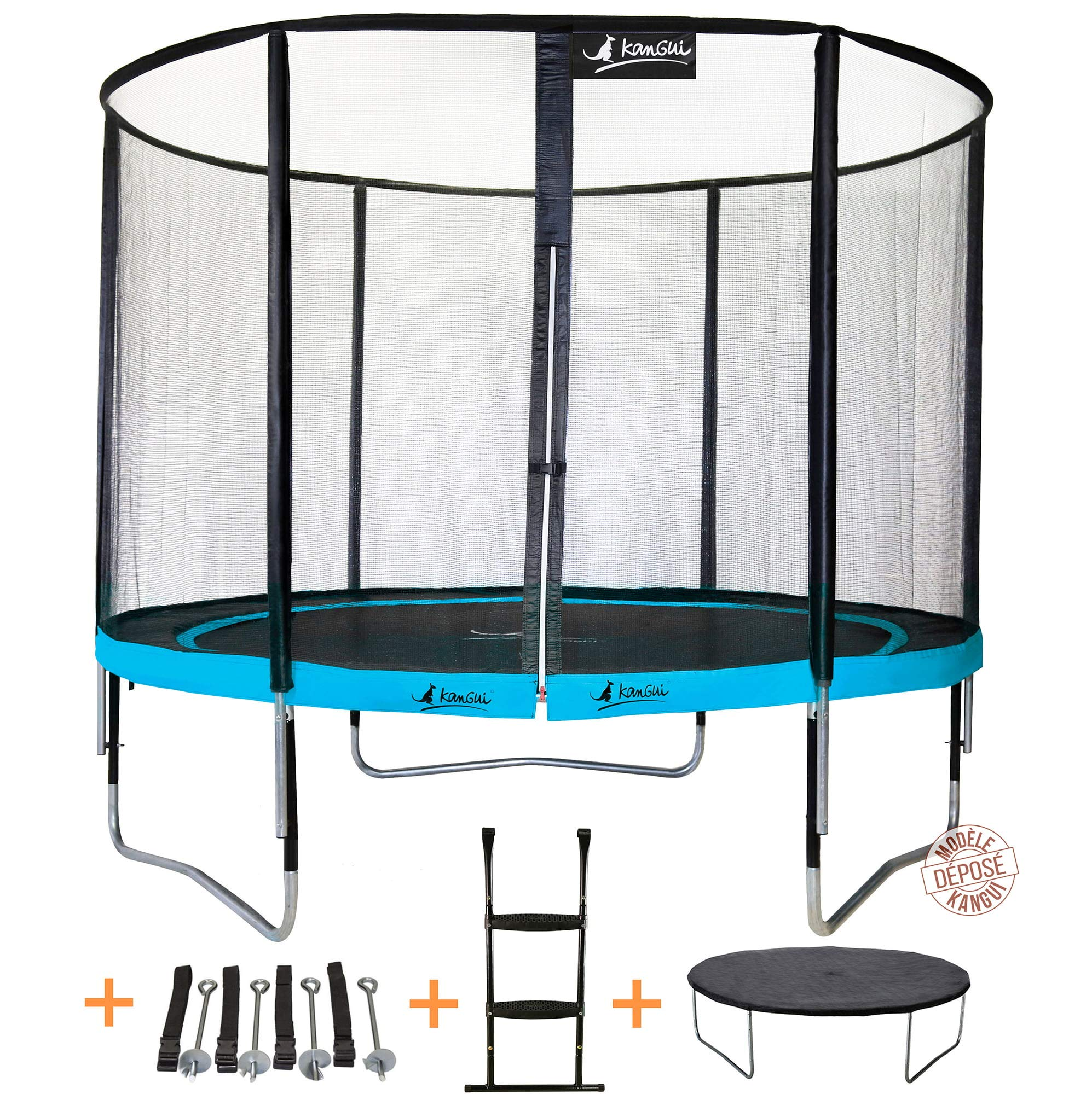 KANGUI - Cama elástica de jardín Redondo 305 cm + Red de Seguridad + Escalera + Funda de protección + Kit Anclaje | PUNCHI Atoll 300: Amazon.es: Deportes y aire libre