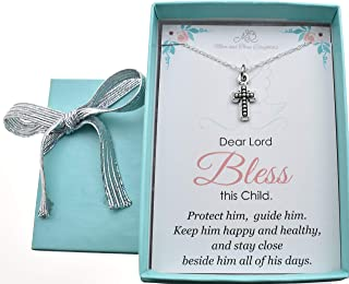 Baby Boy's cross necklace in silver plated pewter on a 14