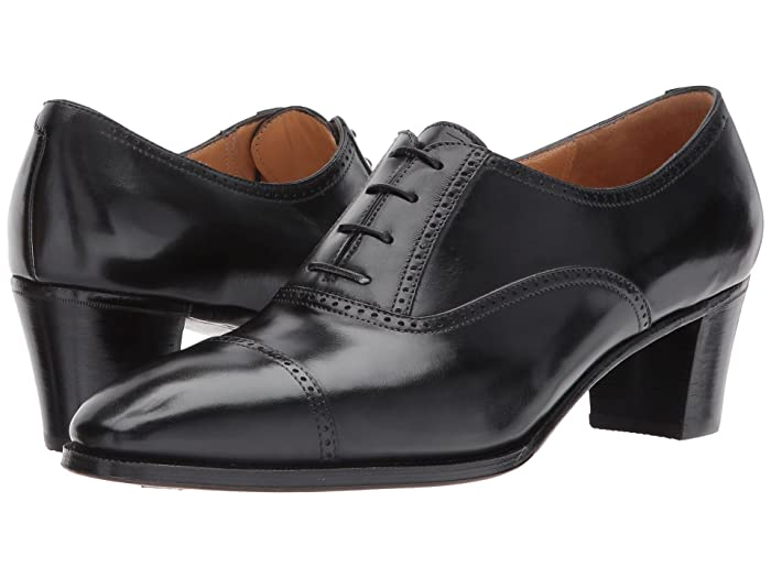 1920s Style Shoes Gravati Mid-Heel Cap Toe Oxford Black Womens Lace Up Cap Toe Shoes $645.00 AT vintagedancer.com