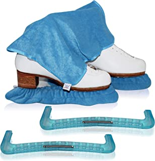 CRS Cross Skate Guards, Soakers & Towel Gift Set - Ice Skating Guards and Soft Skate Blade Covers for Figure Skating or Hockey