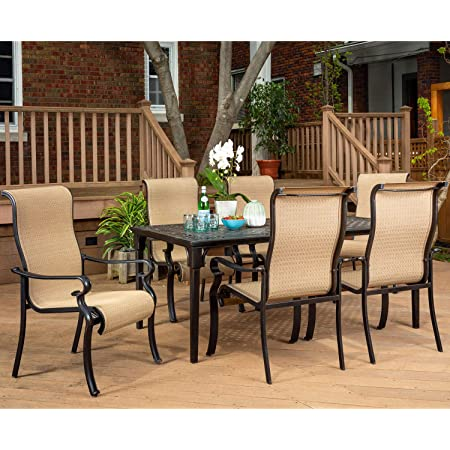 Amazon Com Brigantine 7 Piece Rust Free Aluminum Outdoor Patio Dining Set With 6 Dining Chairs And Aluminum Rectangular Dining Table Brigantine7pc Outdoor And Patio Furniture Sets Garden Outdoor