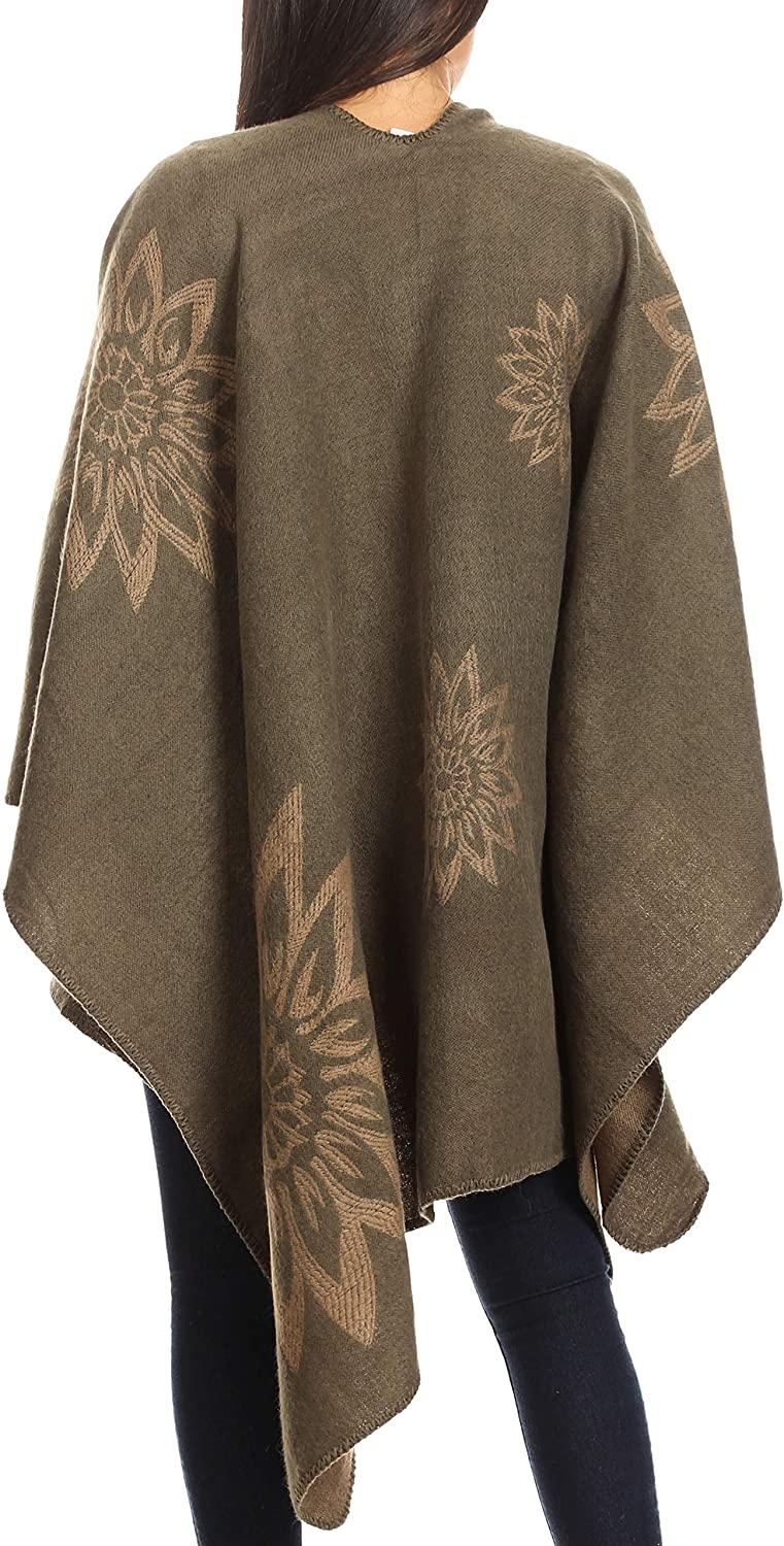 Sakkas Lupe Womens Reversible Poncho Wrap Cape Schal Pullover Mantel Strickjacke Sonnenblume Brown