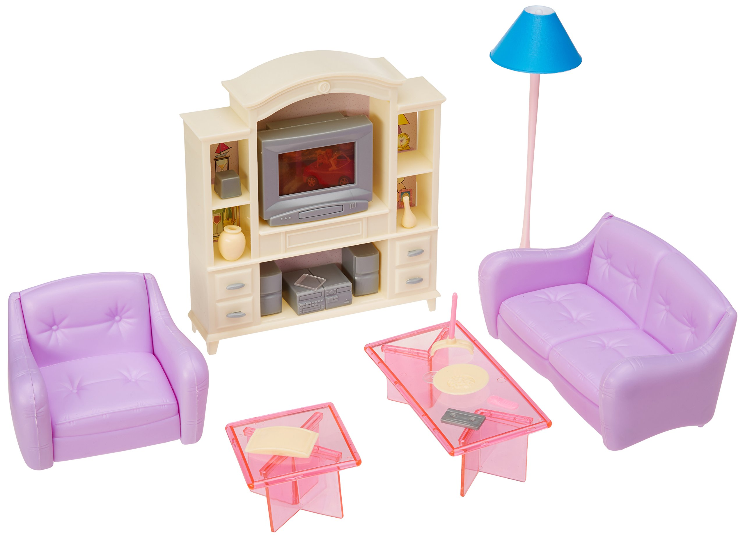 My Fancy Life 15 Dollhouse Furniture, Living Room with TV/DVD Set and  Show Case Play Set