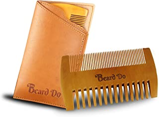 Beard Do Dual Action Wooden Beard Comb & Case - Natural Brown Pear Wood Anti-Static and Hypoallergenic Wood Pocket Comb - For Long and Short Beards & Mustaches with Fragrance Scent